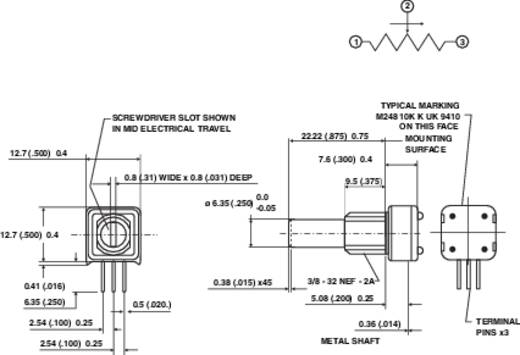 Präzisions-Potentiometer Mono 1 W 2.5 kΩ Vishay 249 2K5 1 St.