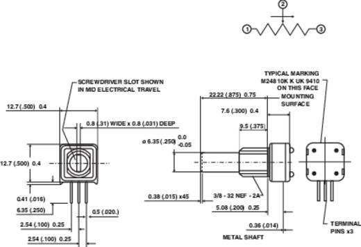 Präzisions-Potentiometer Mono 1 W 500 Ω Vishay 249 500R 1 St.