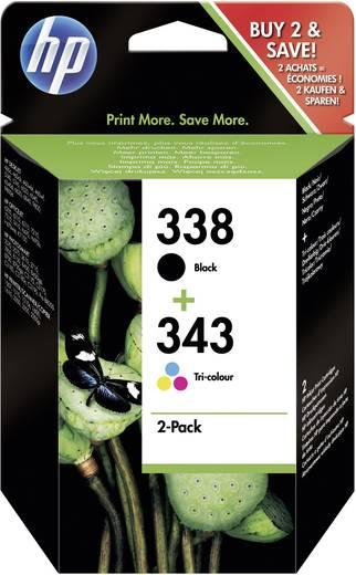 HP Tinte 338, 343 Original Kombi-Pack Schwarz, Cyan, Magenta, Gelb SD449EE
