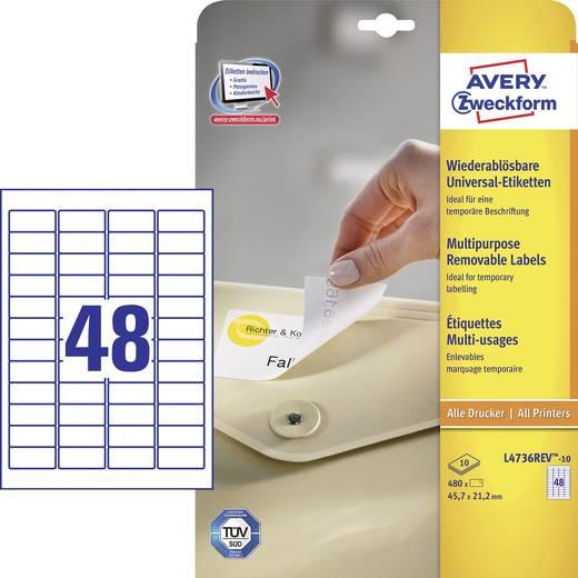 Avery-Zweckform L4736REV-10 Etiketten (A4) 45.7 x 21.2 mm Papier Weiß 480 St. Wiederablösbar Universal-Etiketten Tinte,