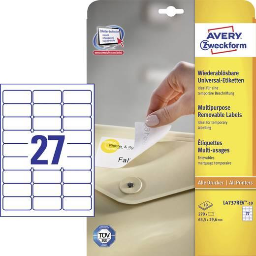 Avery-Zweckform L4737REV-10 Etiketten (A4) 63.5 x 29.6 mm Papier Weiß 270 St. Wiederablösbar Universal-Etiketten Tinte,