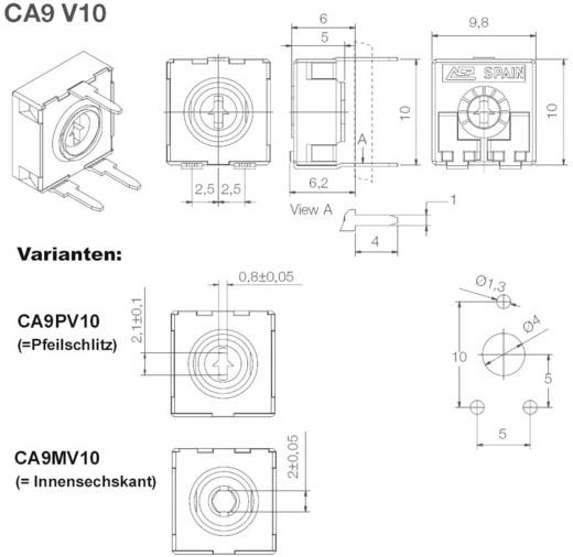 Kohleschicht-Trimmer linear 0.15 W 50 kΩ 220 ° 240 ° ACP CA9PV10-50KA2020 500 St.