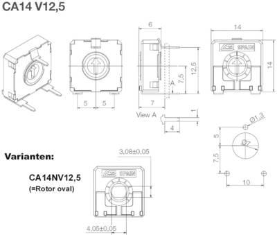 Trimmer a strato di carbone ACP CA14NV12,5-1KA2020 lineare 0.25 W 1 kΩ 245 ° 265 ° 200 pz.