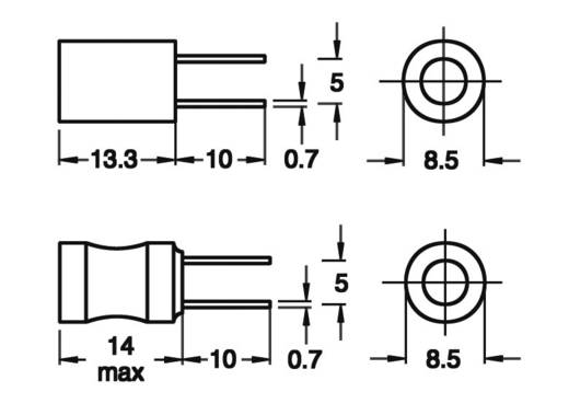 Induktivität mit Schrumpfschlauch radial bedrahtet Rastermaß 5 mm 5600 µH 15 Ω 0.12 A Fastron 09P-562J-50 1 St.