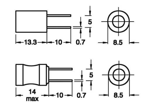 Induktivität mit Schrumpfschlauch radial bedrahtet Rastermaß 5 mm 820 µH 2.2 Ω 0.31 A Fastron 09P-821K-50 1 St.
