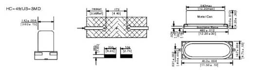 Quarzkristall 445167 HC-49/US-SMD 12.000 MHz 10 pF 11.5 mm 4.75 mm 4.2 mm