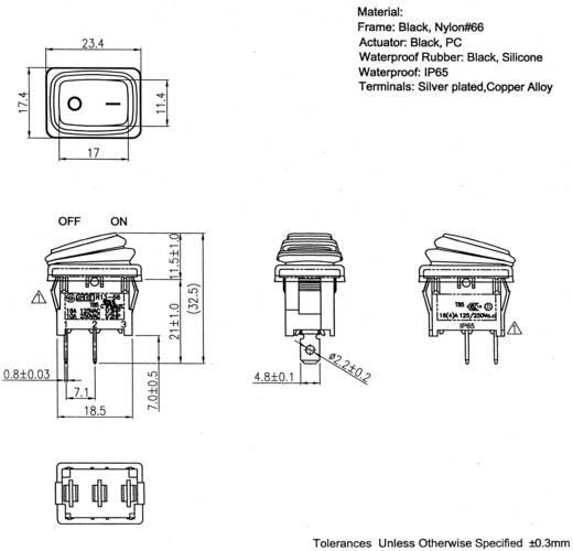 SCI Wippschalter R13-66A8-02 250 V/AC 10 A 1 x Aus/Ein IP65 rastend 1 St.