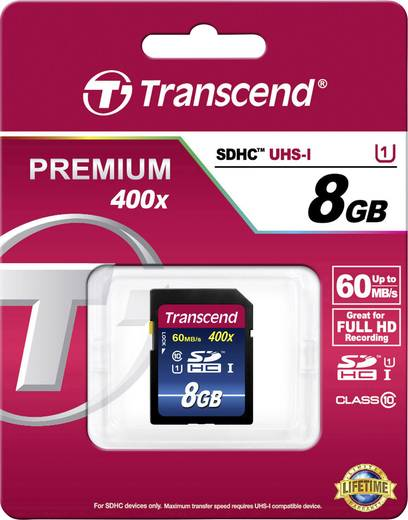 SDHC-Karte 8 GB Transcend Premium 400 Class 10, UHS-I