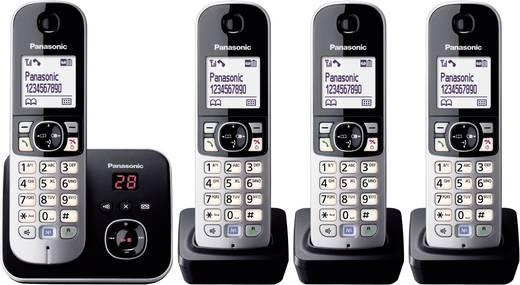 Schnurloses Telefon analog Panasonic KX-TG6824 Quattro Anrufbeantworter, Freisprechen Schwarz, Silber