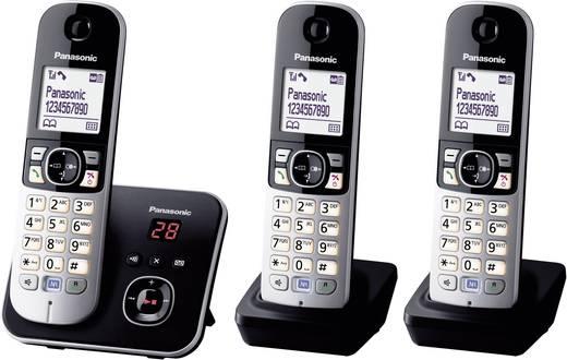 Schnurloses Telefon analog Panasonic KX-TG6823 Trio Anrufbeantworter, Freisprechen Schwarz, Silber