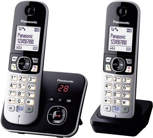 Schnurloses Telefon analog Panasonic KX-TG6822 Duo Anrufbeantworter, Freisprechen Schwarz, Silber