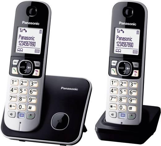 Schnurloses Telefon analog Panasonic KX-TG6812 Duo Freisprechen Schwarz, Silber