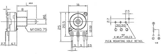 Dreh-Potentiometer Mono 0.2 W 10 kΩ Potentiometer Service GmbH 2165 1 St.
