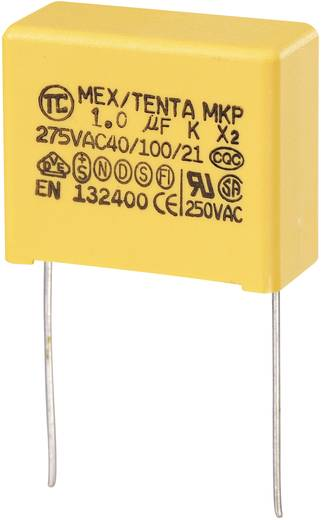 MKP-X2-Funkentstör-Kondensator radial bedrahtet 1 µF 275 V/AC 10 % 22.5 mm (L x B x H) 26.5 x 12.5 x 21.5 mm MKP-X2 1
