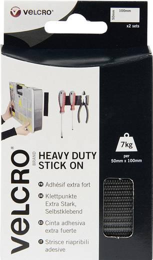 Klettband zum Aufkleben Haft- und Flauschteil, extrastark (L x B) 100 mm x 50 mm Schwarz VELCRO® brand VEL-EC60239 2 Paar