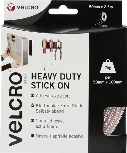 Klettband zum Aufkleben Haft- und Flauschteil, extrastark (L x B) 2500 mm x 50 mm Weiß VELCRO® brand VEL-EC60246 2.5 m