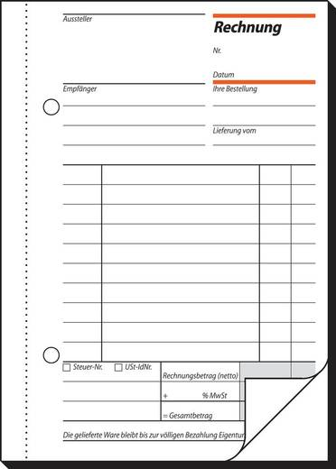 sigel Rechnung/RE625, weiß+weiß, mit Blaupapier, A6 hoch, Inh. 2 x 50 Blatt
