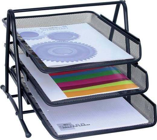 WEDO Briefablage Mesh /65801, schwarz, 3 Schübe, 350x300x270mm