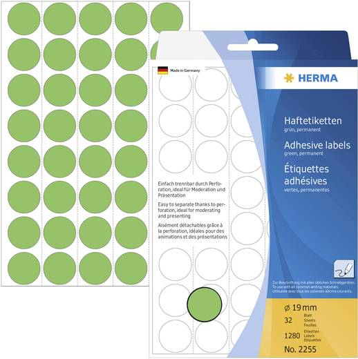 Herma 2255 Etiketten Ø 19 mm Papier Grün 1280 St. Permanent haftend Markierungspunkte Etiketten