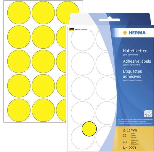 Herma 2271 Etiketten Ø 32 mm Papier Gelb 480 St. Permanent Markierungspunkte Etiketten