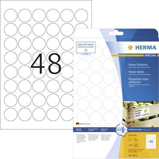 Herma 10915 Etiketten (A4) Ø 30 mm Papier Weiß 1200 St. Permanent Kraftkleber-Etiketten, Universal-Etiketten Tinte, Lase