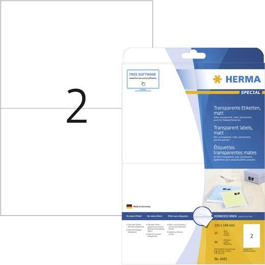 Herma 4683 Etiketten (A4) 210 x 148 mm Polyester-Folie Transparent 50 St. Permanent Universal-Etiketten, Wetterfeste Eti