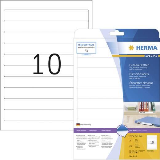 Herma 5119 Etiketten (A4) 25.4 x 192 mm Papier Weiß 250 St. Permanent Ordner-Etiketten Tinte, Laser, Kopie