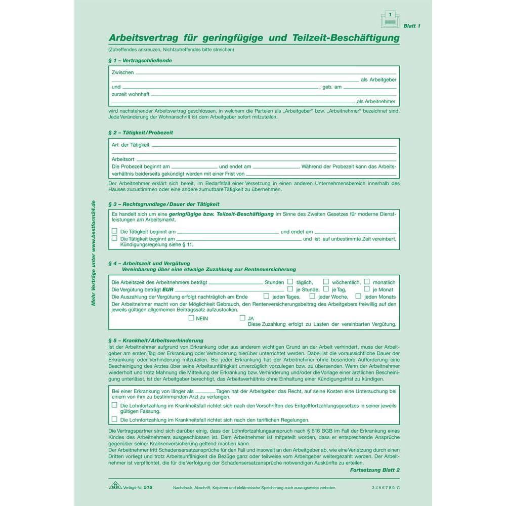 Rnk Arbeitsvertrag Fgeringf Uteilzeit Besch 2x2 Blatt Sd 518
