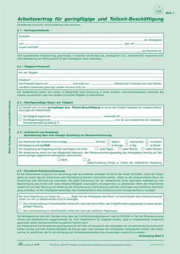 RNK Arbeitsvertrag f.geringf. u.Teilzeit-Besch., 2x2 Blatt, sd 518, DINA4,Inh.10