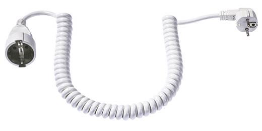 Strom Verlängerungskabel [ Schutzkontakt-Winkelstecker - Schutzkontakt-Kupplung] Weiß 4 m Spiralkabel Bachmann Electri