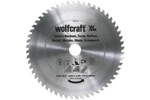 CV Kreissägeblatt 350 x 30 mm Zähneanzahl: 56 Wolfcraft 6606000 1 St.