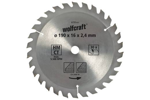 Kreissägeblatt Wolfcraft 6732000 Durchmesser: 150 mm Zähneanzahl: 20 Sägeblatt
