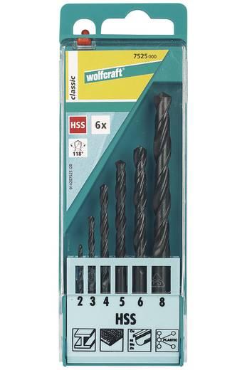 HSS Metall-Spiralbohrer-Set 6teilig Wolfcraft 7525000 rollgewalzt DIN 338 Zylinderschaft 1 Set