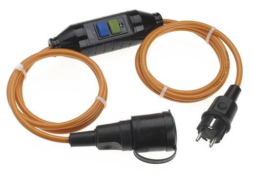 Strom Verlängerungskabel [ Schutzkontakt-Gummi-Stecker - Schutzkontakt-Gummi-Kupplung] 16 A Orange, Schwarz 3 m mit PRC