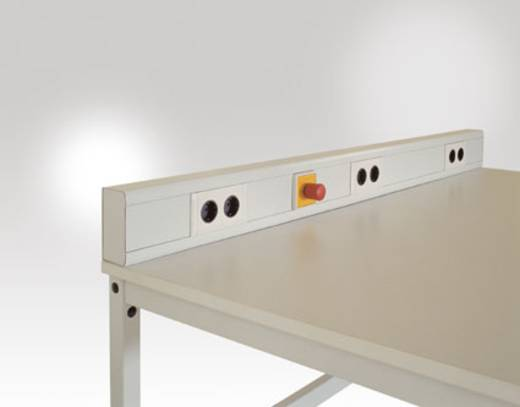 Manuflex LZ3516.7035 EV-Kanal leitfähig 1500mm auf Klemmen verdrahtet 3x Doppelsteckdose 230V 1x Not-Aus-Schalter n. VDE u.DIN ohne Anschlussleitungen lichtgrau leitfähig