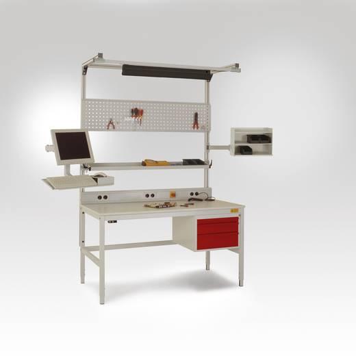 Manuflex LC1918.7035 CANTO Standard 1600x800x 765-785mm, Rechteckrohr-Tischgestell Tischpl. Melamin leitf.25mm EN100015 incl. Erdungsbox+Erdungssystem lichtgrau leitfähig