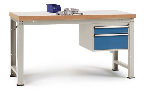 Manuflex WP5467.9006 Einzelwerkbank PROFI, komplett 1500x700x840 mm, Platte Kunststoff Gehäuse: ähnl.RAL9006 alusilber S