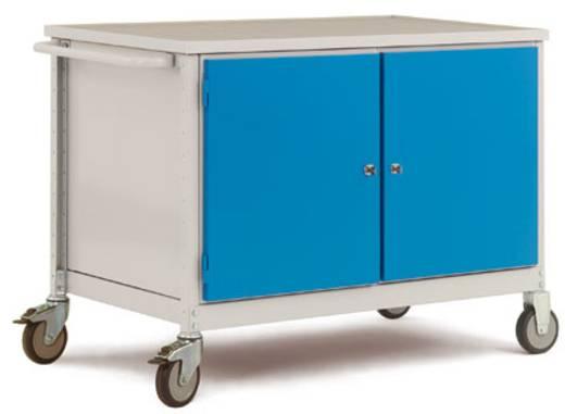Mobiler Tischwagen mit 2 Gehäuse 1x Türe links und 1x Türe rechts Angeschlagen. Abdeckplatte PVC weißgrau RAL6011 resedagrün Manuflex MW1005.6011