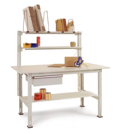 Manuflex AS1501.7035 Komplett-Packtisch 1500x800mm mit Einzelschubfach u.Zwischenbd. Tischplatte Kunststoff lichtgrau 22mm RAL7035 lichtgrau