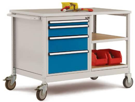 Mobiler Tischwagen 2 Einlegeböden Holzverbund Abdeckplatte Multiplex 30mm stark Tischwagen und Gehäuse in ähnlich RAL9006 alusilber Manuflex MW2001.9006