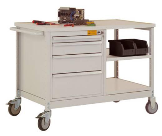 Manuflex LW1001.0002 Mobiler Tischwagen mit 2 Einlegeböden Melamin lichtgrau leitfähig 25mm Abdeckplatte,mit Abrollrand Tischwagen und Gehäuse Schubfächer:brillantblau