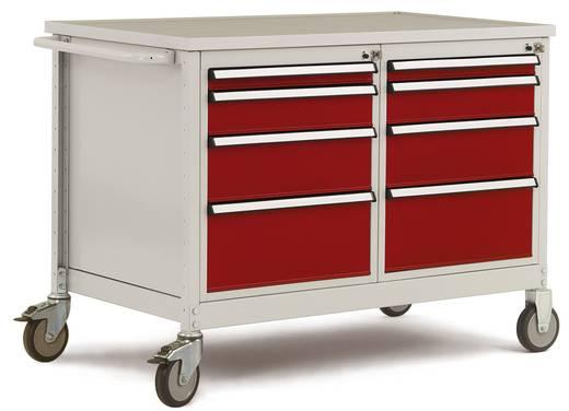 Mobiler Tischwagen 2 Gehäuse mit je 4 Schubfächer 1x50, 1x100, 1x150, 1x200mm Abdeckplatte Multiplex 30mm stark Tischwagen und Gehäuse in rubinrot Manuflex MW2004.3003