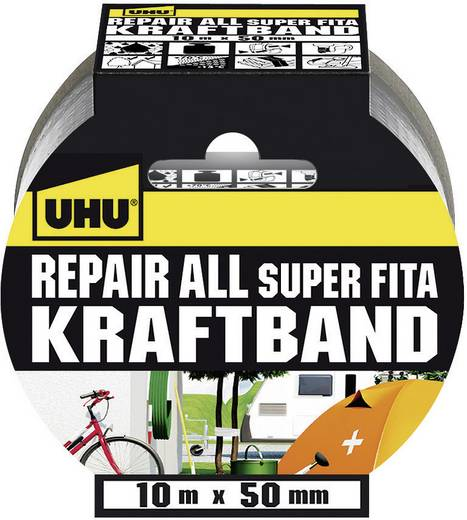Gewebeklebeband UHU UHU® Repair Silber (L x B) 10 m x 50 mm Kautschuk Inhalt: 1 Rolle(n)