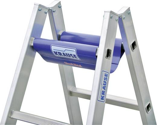 Krause 124906W Aluminium Stufen-Doppelleiter inkl. Werkzeugablage Arbeitshöhe (max.): 3.05 m Silber, Blau 6.3 kg