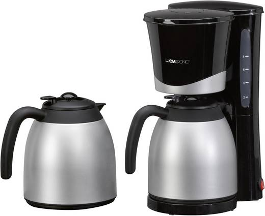 Kaffeemaschine Clatronic KA 3328 Schwarz, Silber Fassungsvermögen Tassen=10 Isolierkanne