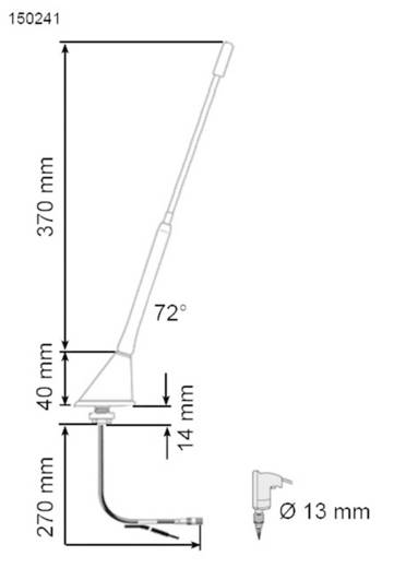 Autoradio-Universal-Antenne AIV 72°