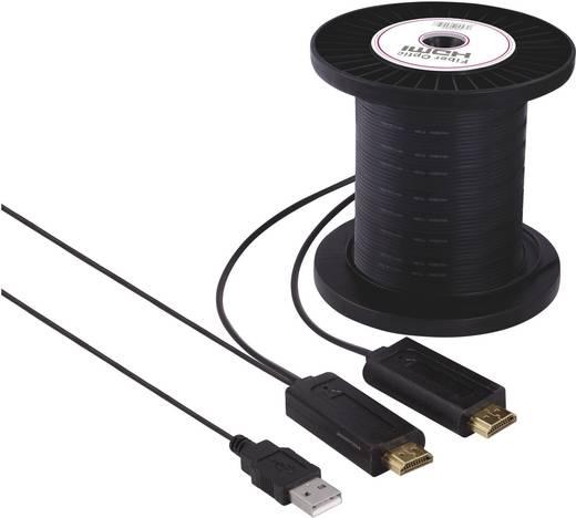 HDMI LWL-Hybrid Kabel Anschlusskabel [1x HDMI-Stecker - 1x HDMI-Stecker] 50 m Schwarz SpeaKa Professional