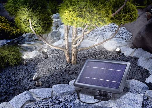 Solar-Spot LED 1 W Kalt-Weiß Esotec Quattro Power 102142 Schwarz