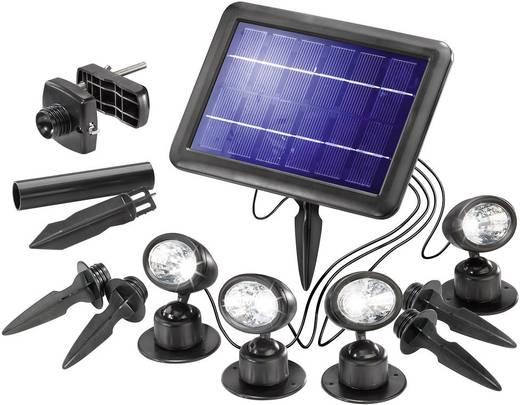 Solar-Spot 1 W Kalt-Weiß Esotec 102142 Quattro Power Schwarz