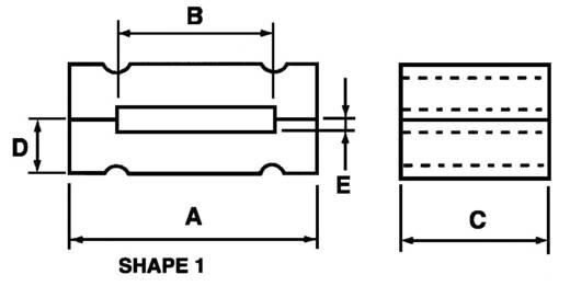 Ferrit-Flachkern 175 Ω (L x B x H) 38 x 25.4 x 12.7 mm Richco RFP1-20-25-A5 1 St.